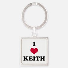 I Love Keith Square Keychain