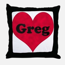 Greg Leather Heart Throw Pillow