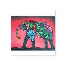 "Psychedelic Elephant Square Sticker 3"" x 3"""