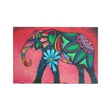 Psychedelic Elephant Rectangle Magnet