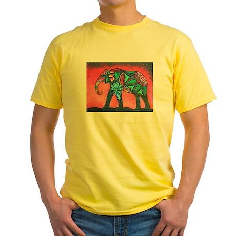 Psychedelic Elephant Yellow T-Shirt