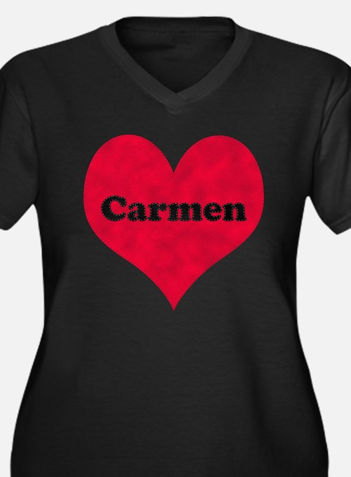 Carmen Leather Heart Women's Plus Size V-Neck Dark