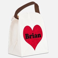Brian Leather Heart Canvas Lunch Bag