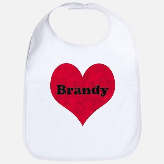 Brandy Leather Heart Bib