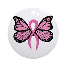 Breast Cancer Butterfly Ornament (Round)