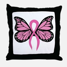 Breast Cancer Butterfly Throw Pillow