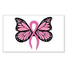 Breast Cancer Butterfly Rectangle Decal