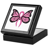 Breast cancer butterfly Square Keepsake Boxes
