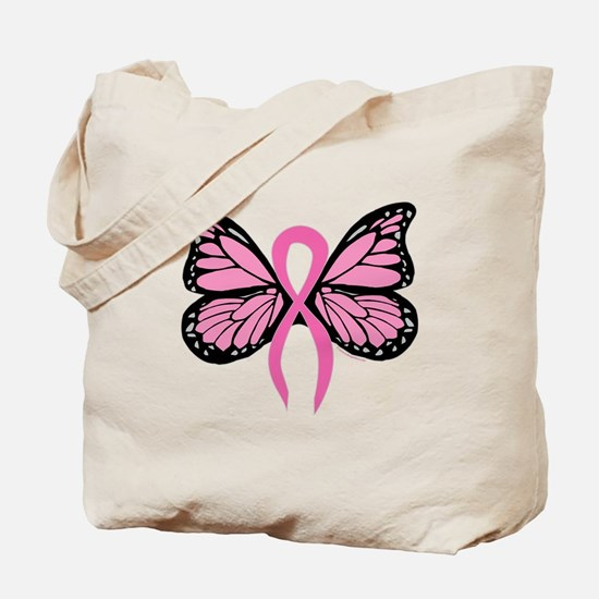 Breast Cancer Butterfly Tote Bag