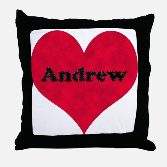 Andrew Leather Heart Throw Pillow