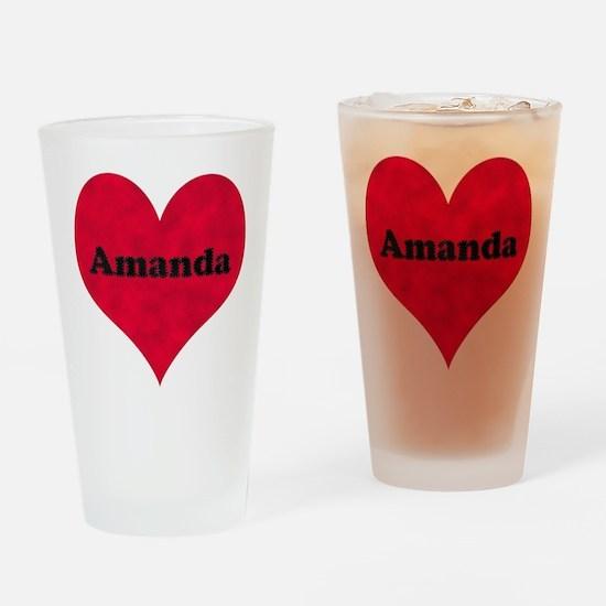 Amanda Leather Heart Drinking Glass