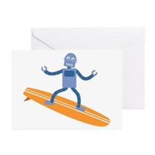 Surfing Robot Greeting Cards (Pk of 10)