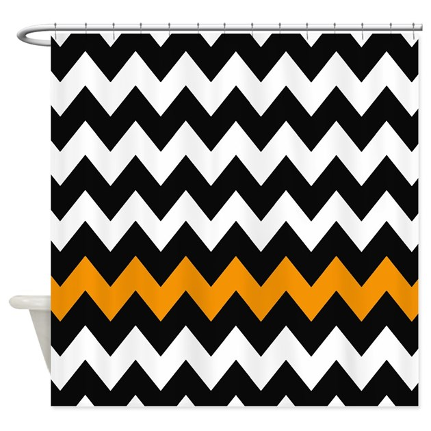 Black And Orange Chevron Shower Curtain By Chevroncitystripes