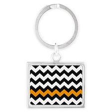 Black and Orange Chevron Landscape Keychain