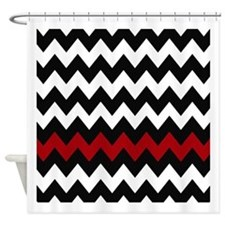 Black and Red Chevron Shower Curtain