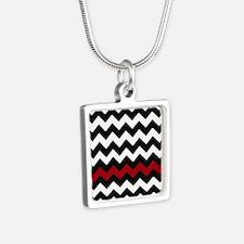 Black and Red Chevron Silver Square Necklace