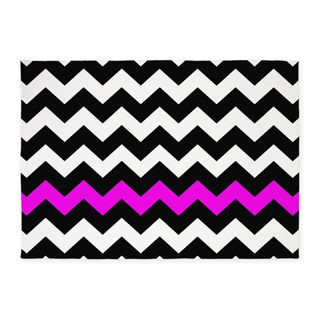 Hot Pink And Black Chevron 5'x7'Area Rug By Chevroncitystripes