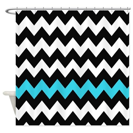black and blue chevron shower curtain by chevroncitystripes