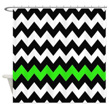 Black And Green Chevron Shower Curtain By Chevroncitystripes