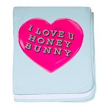 I LOVE YOU HONEY BUNNY baby blanket