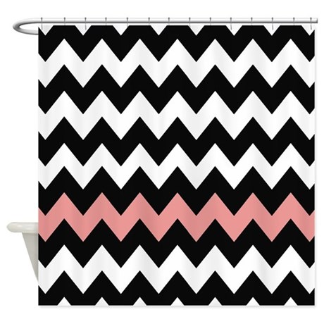 black and pink chevron shower curtain by chevroncitystripes