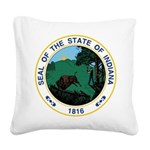 Seal of Indiana Square Canvas Pillow
