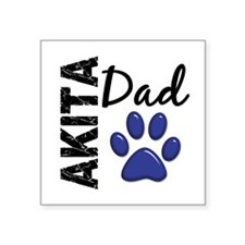 "Akita Dad 2 Square Sticker 3"" x 3"""