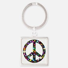Hippie Flowery Peace Sign Square Keychain