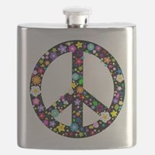 Hippie Flowery Peace Sign Flask