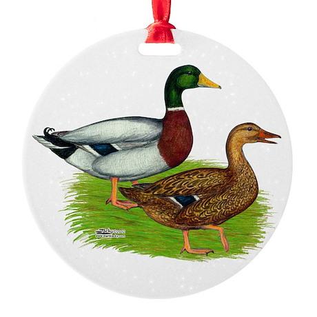 Mallard Ducks Round Ornament