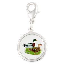 Mallard Ducks Silver Round Charm
