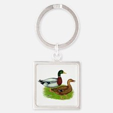 Mallard Ducks Square Keychain