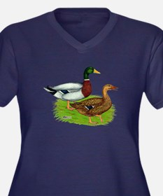 Mallard Ducks Women's Plus Size V-Neck Dark T-Shir