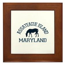 Assateague Island MD - Ponies Design. Framed Tile