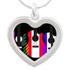 Abstract Rainbow Guitars Silver Heart Necklace