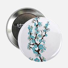 "Cherry Blossoms Japanese Sakura (aqua) 2.25"" Butto"