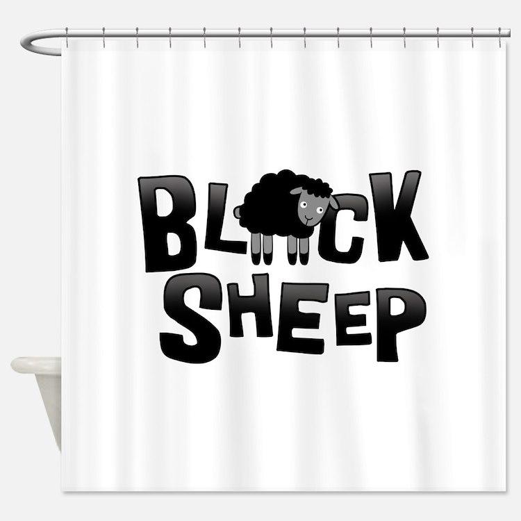 Black Sheep Dark Shower Curtain
