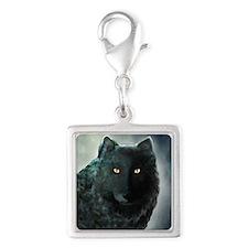 Black Wolf Silver Square Charm