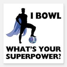 "Bowling Superhero Square Car Magnet 3"" x 3"""
