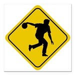 FIN-bowling-crossing-sign.png Square Car Magnet 3