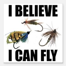 "I Believe I Can Fly Square Car Magnet 3"" x 3"""