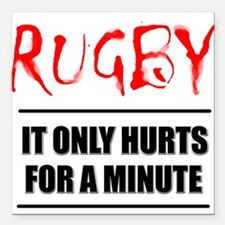 FIN-rugby only hurts text.png Square Car Magnet 3""