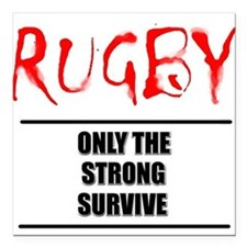 FIN-rugby only strong text.png Square Car Magnet 3