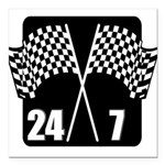 FIN-racing flags 24-7.png Square Car Magnet 3