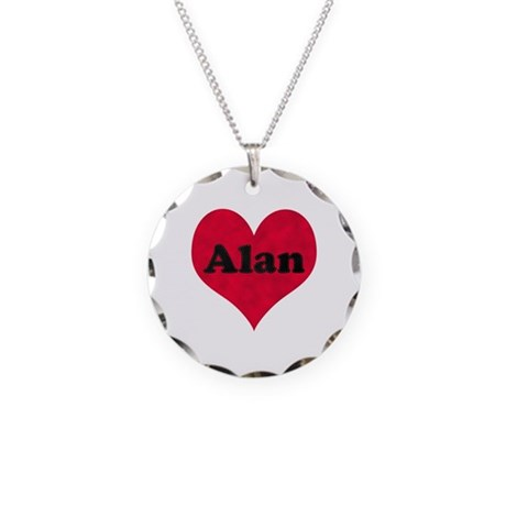 Alan Leather Heart Necklace Circle Charm