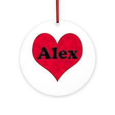 Alex Leather Heart Round Ornament