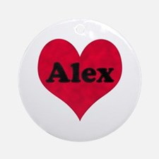 Alex Leather Heart Round Ornament