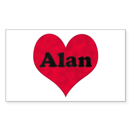 Alan Leather Heart Rectangle Sticker