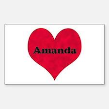 Amanda Leather Heart Rectangle Decal