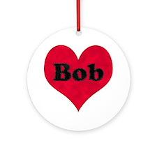 Bob Leather Heart Round Ornament
